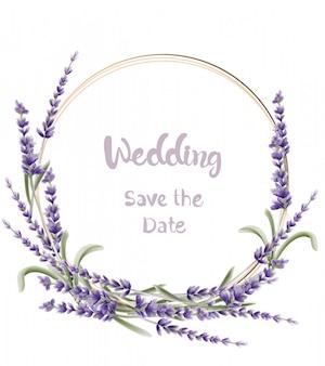 Lavendel bruiloft kaart aquarel