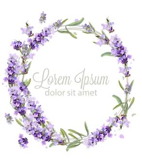 Lavendel krans kaart aquarel