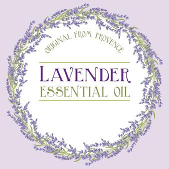 Lavendel krans label etherische olie