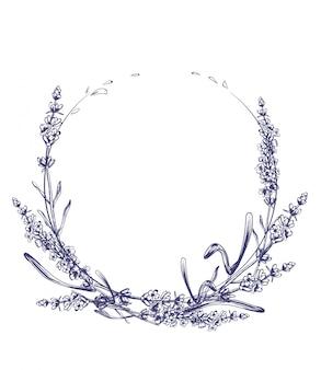 Lavendel krans vintage lijntekeningen