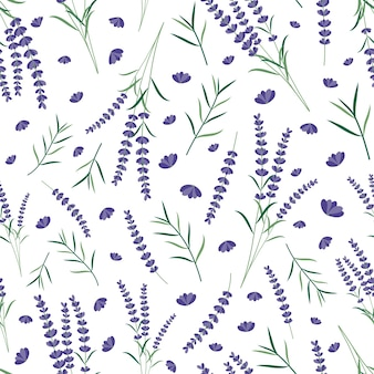 Lavendel veldboeket naadloze patroon
