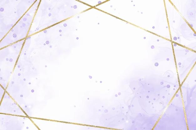 Lavendel vloeibare aquarel achtergrond met gouden lijnen en folie splatter