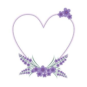 Lavender flower floral wreath love frame flat