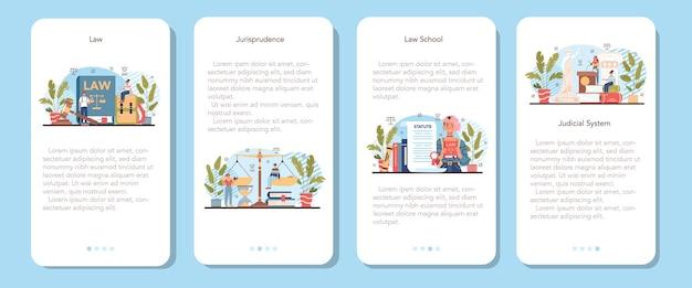 Law class mobiele applicatie banner set. straf en oordeel onderwijs. schoolcursus jurisprudentie. schuld en onschuld idee. vectorillustratie in cartoon-stijl