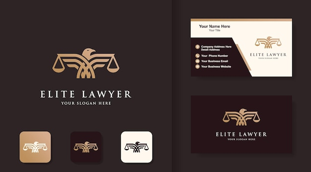 Law eagle-logo ontwerp en visitekaartje ontwerp