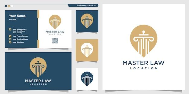 Law logo met pin point locatiestijl en visitekaartje ontwerp, meester, wet, rechtvaardigheid, sjabloon