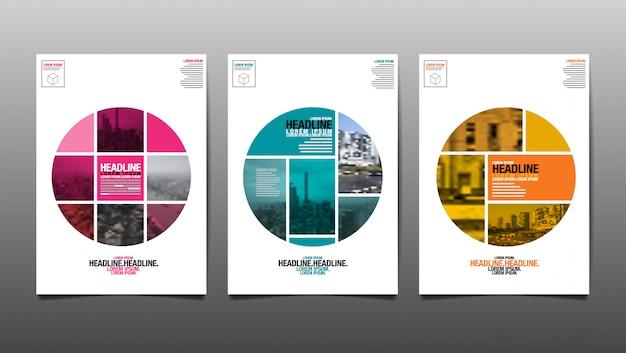Lay-out ontwerpsjabloon, omslagboek, rapport annaul, achtergrond van stadsabstact