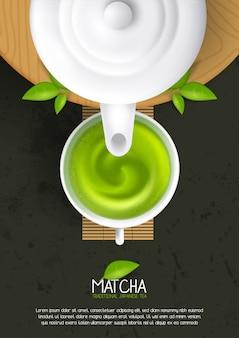Lay-out sjabloon met kopje matcha latte. illustratie van groene thee, japanse drank, biologische drank.