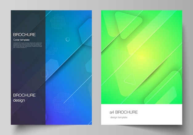 Lay-out van a4-formaat moderne omslag s ontwerpsjablonen voor brochure, tijdschrift, flyer, boekje. futuristisch technologieontwerp, kleurrijke achtergronden met de samenstelling van vloeiende gradiëntvormen.