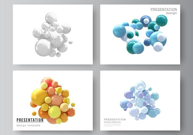Lay-out van de ontwerpsjablonen van presentatiedia's met veelkleurige 3d-bollen, bubbels, ballen.