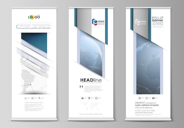 Lay-out van oprolbare bannerstandaarden, verticale flyers