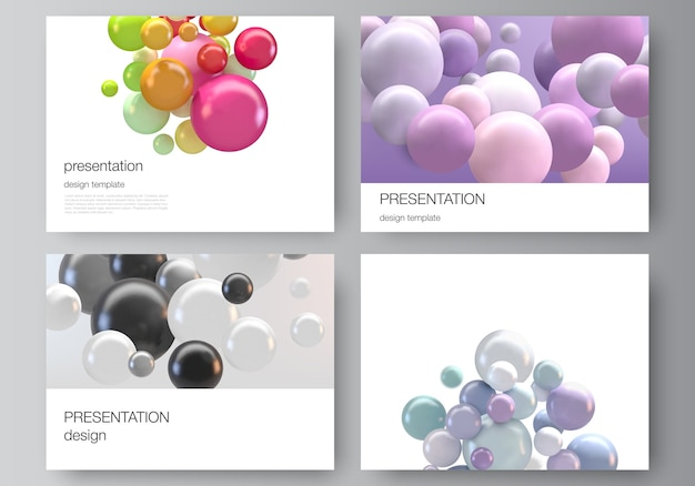 Lay-out van sjablonen voor brochure, presentatie, omslagontwerp. 3d-bollen, glanzende bubbels, ballen.