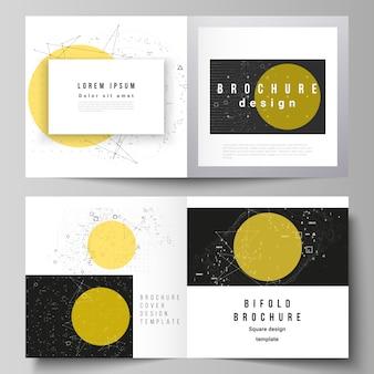 Lay-out van sjablonen voor tweevoudige brochure met vierkant ontwerp