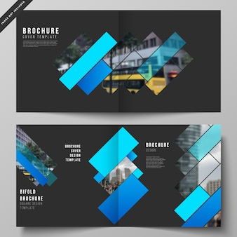 Lay-out van twee coversjablonen voor vierkante tweevoudige brochure