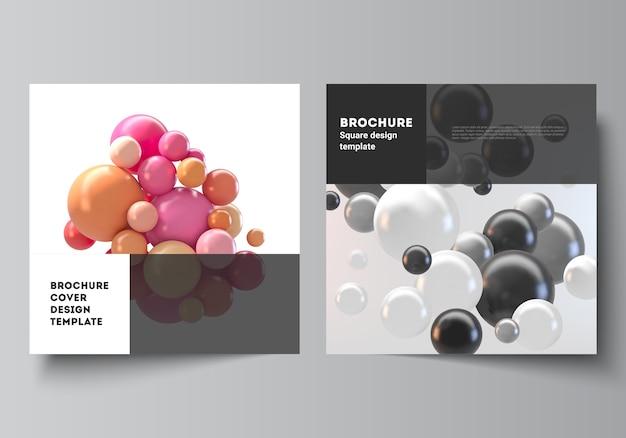 Lay-out van twee vierkante omslagsjablonen. abstracte futuristische 3d-bollen, glanzende bubbels, ballen.