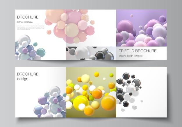 Lay-out van vierkante omslagsjablonen voor driebladige brochure