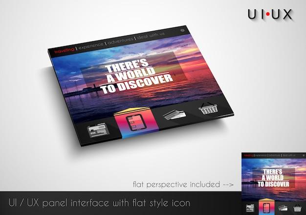 Lay-out van vlakke stijl moderne webite-paneel met pictogrammen
