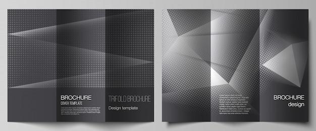 Lay-outs van omslagen ontwerpsjablonen voor driebladige brochure, flyer-opmaak, boekontwerp, brochureomslag, reclamemodellen. halftoon bezaaid achtergrond met grijze stippen, abstracte verloop achtergrond.