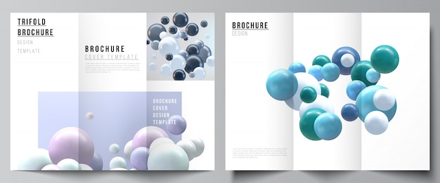 Lay-outs van omslagen ontwerpsjablonen voor driebladige brochure, flyer-opmaak, tijdschrift, boekontwerp, brochureomslag, reclame. realistische achtergrond met veelkleurige 3d-bollen, bubbels, ballen.
