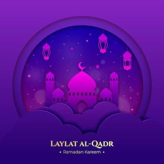 Laylat al-qadr illustratie in papieren stijl