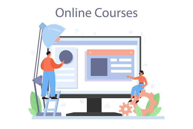 Layout designer online service of platform. webontwikkeling, ontwerp van mobiele apps. mensen bouwen gebruikersinterfacesjabloon. online cursus. vector illustratie