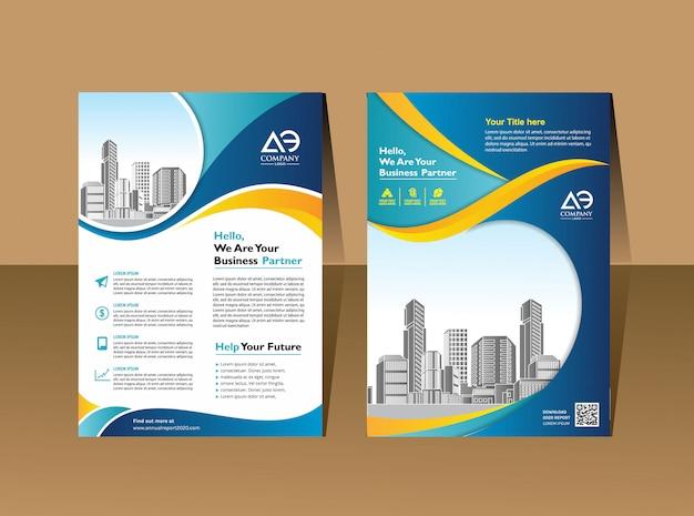 Layout flyer ontwerp voor bedrijfsevenement en rapport