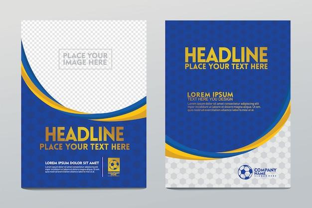 Layoutsjabloon van de poster of de omslag en gebruikers anderen voor voetbalsportevenement.