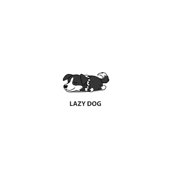 Lazy border collie puppy slaappictogram