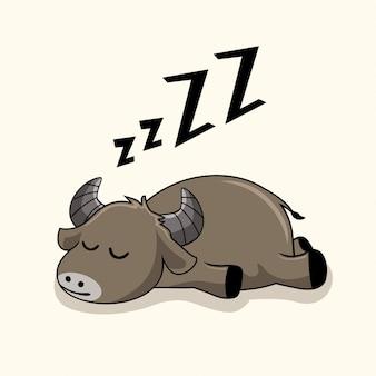 Lazy buffalo cartoon slaap dieren