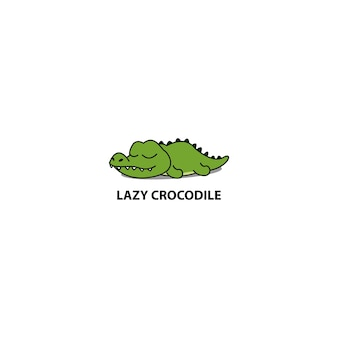 Lazy crocodile sleeping icon
