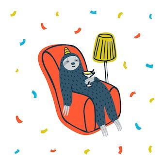 Lazy luiaardfeest leuke luiaard die een cocktail drinkt in een gezellige fauteuil