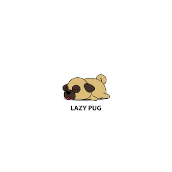 Lazy pug puppy slaappictogram