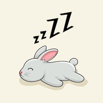 Lazy rabbit cartoon bunny sleep