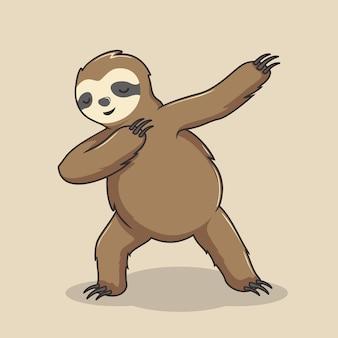 Lazy sloth doet dabbing dance
