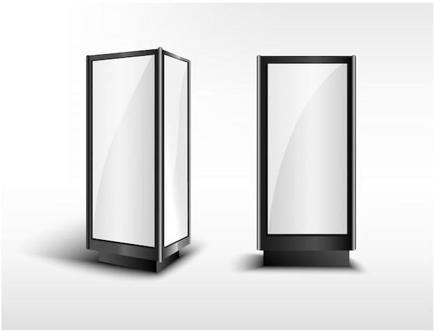 Lcd-schermstandaard met drie richtingen. stadslicht show booth. advertentiesjabloon voor uw expo-ontwerp met hoge resolutie.