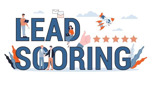 Lead scoren banner concept. idee van leider klantevaluatie. marketingstrategie. illustratie