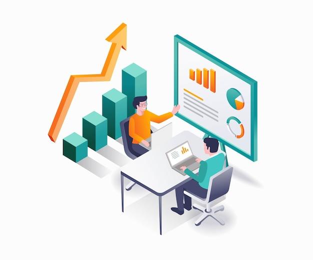 Leader traint investeerders om het bedrijf te laten groeien