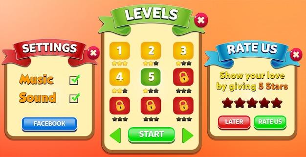 Leaderboard, speciale aanbieding, beoordeel ons en exit menu verschijnen met sterren score en knoppen gui