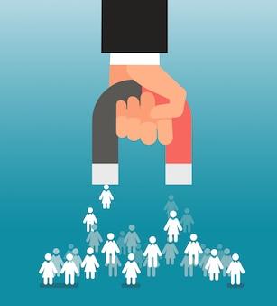 Leadgeneratie. magneet in de hand trekt consumenten aan. verkoop en leads, marketing