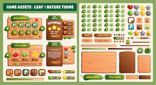 Leaf and nature theme game assets