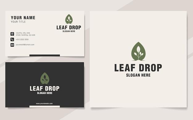 Leaf drop logo sjabloon op monogramstijl