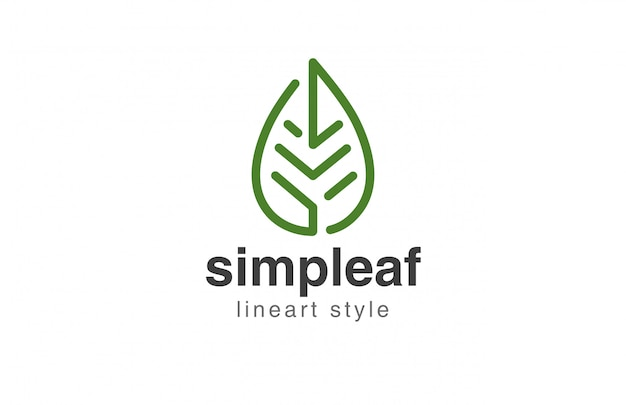 Leaf logo abstract lineair stijlicoon