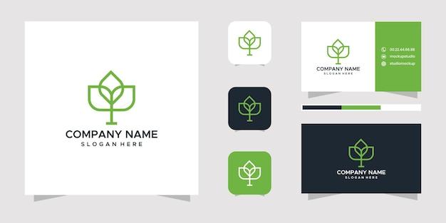 Leaf logo-ontwerp en visitekaartje.