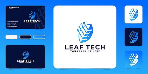 Leaf technologie logo ontwerp inspiratie en verbindingslijn en visitekaartje