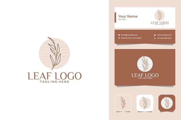 Leaf vrouwelijk schoonheidslogo ontwerp en visitekaartje
