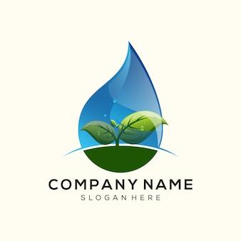 Leaf water drop logo premium