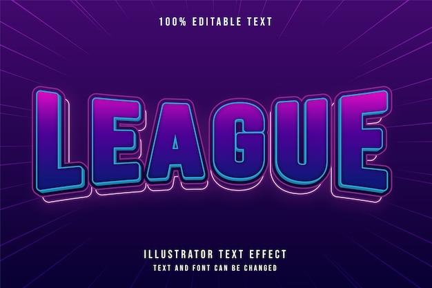 League, 3d bewerkbaar teksteffect roze gradatie paars blauw moderne komische stijl