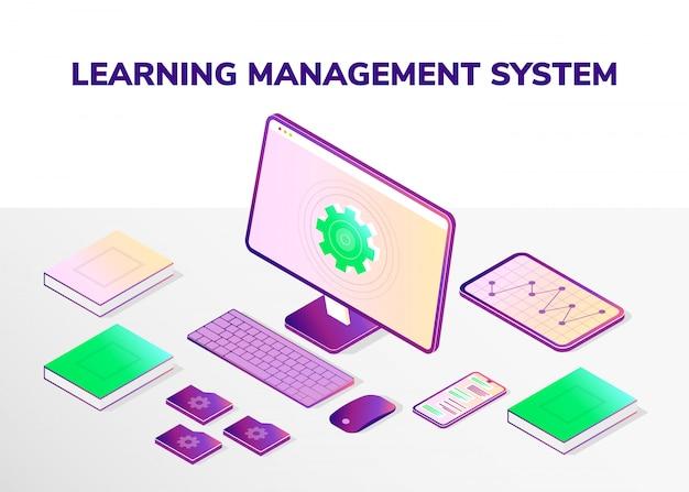 Learning management system. isometrische pictogrammen.