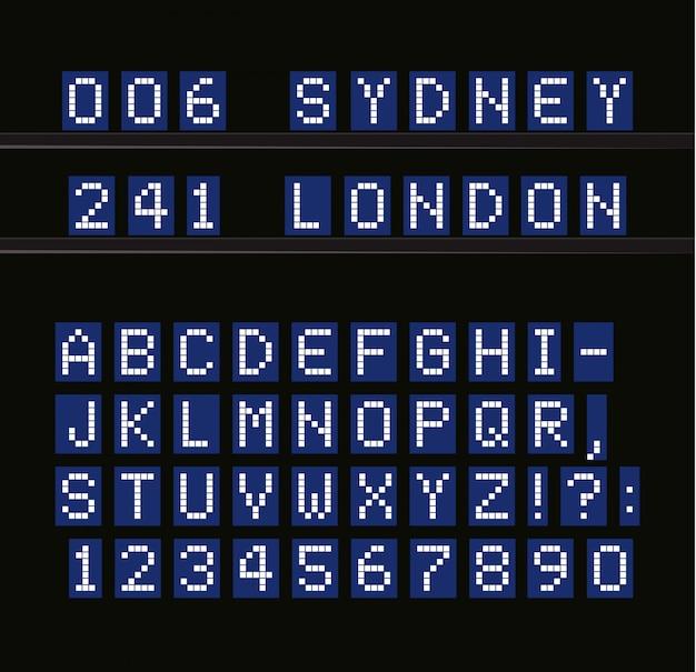 Led alfabet, digitale terminal tafel witte letters op blauw