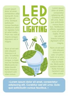 Led eco-verlichting platte vector infographics sjabloon